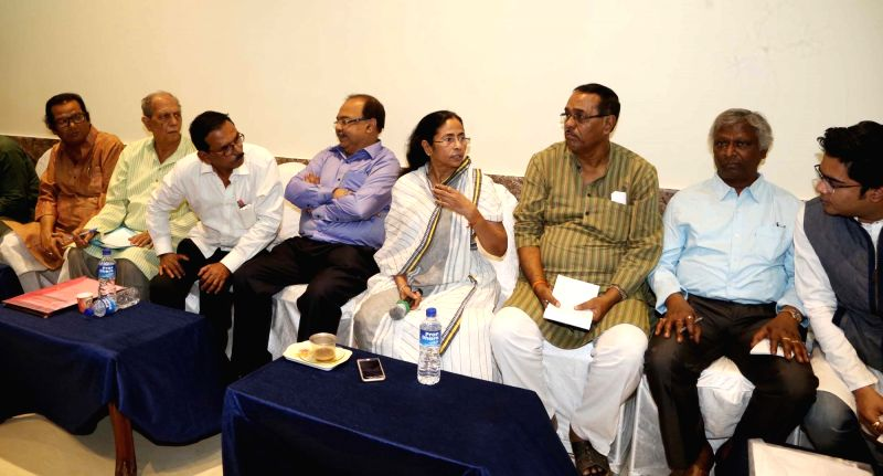 West Bengal Chief Minister Mamata Banerjee during a meeting with officials in Medinipur district of the state on Nov 27, 2015. - Mamata Banerjee