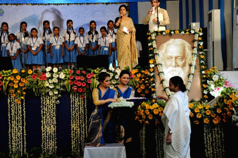 West Bengal Chief Minister Mamata Banerjee during a programme organised to pay tribute to Rabindranath Tagore on his birth anniversary in Kolkata, on May 8, 2016. - Mamata Banerjee