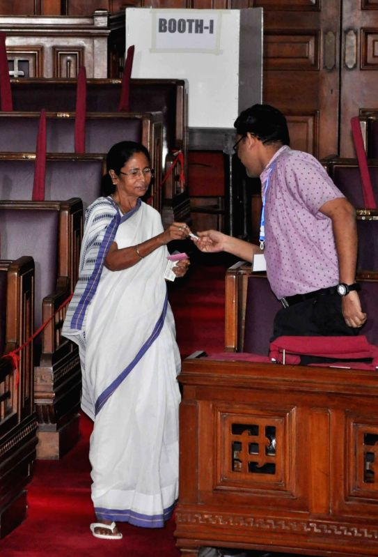 West Bengal Chief Minister Mamata Banerjee during presidential polls at West Bengal Assembly in Kolkata on July 17, 2017. - Mamata Banerjee