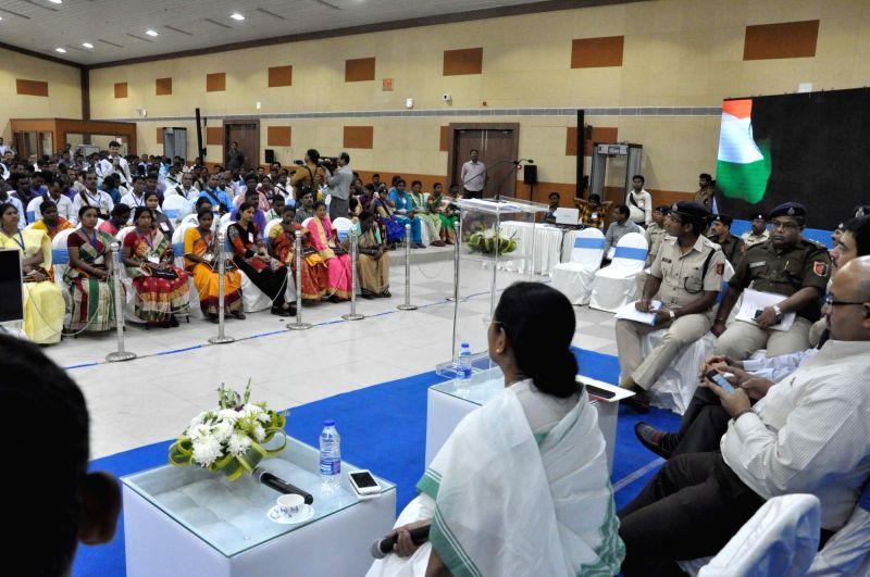 West Bengal Chief Minister Mamata Banerjee during a meeting with representative of Jangalmahal at Nabanna in Howrah on Feb 13, 2018. - Mamata Banerjee
