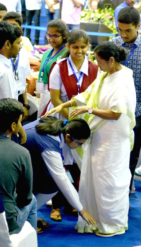 West Bengal Chief Minister Mamata Banerjee during a programme organised to felicitate secondary and higher secondary exam toppers, in Kolkata on June 11, 2018. - Mamata Banerjee