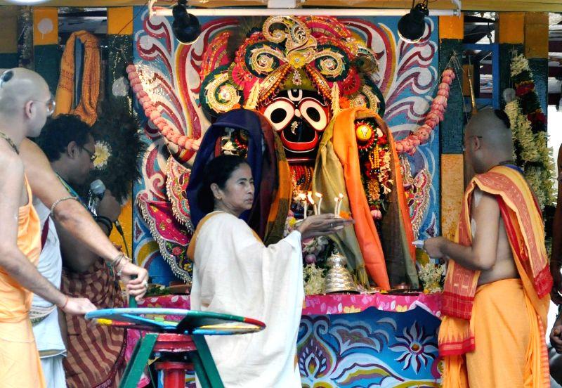 West Bengal Chief Minister Mamata Banerjee during Jagannath Rath Yatra celebrations at International Society for Krishna Consciousness (ISKCON), in Kolkata on July 14, 2018. - Mamata Banerjee