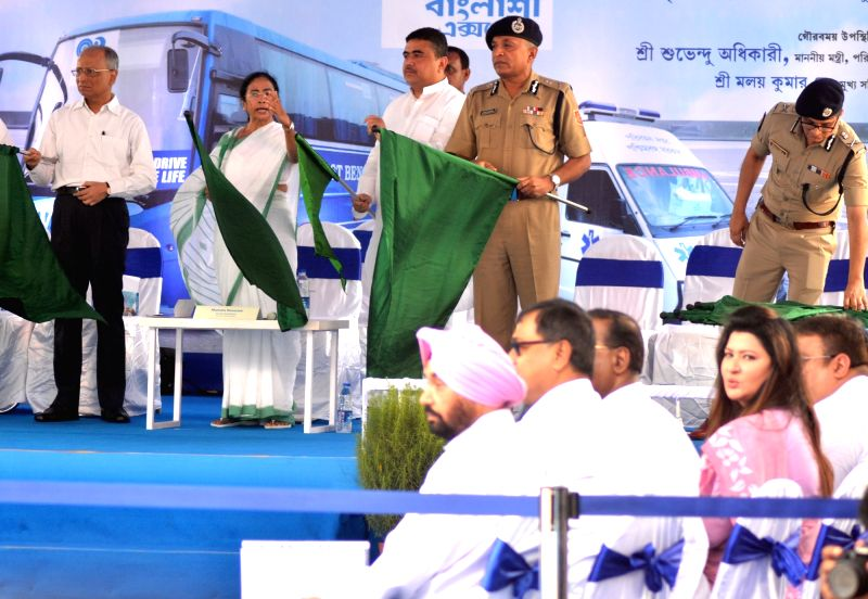 West Bengal Chief Minister Mamata Banerjee during a programme organised to flag-off Trauma Care ACambulance and Banglashree Express at Nabanna in Howrah on July 18, 2018. - Mamata Banerjee
