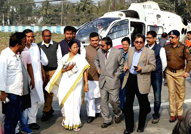 West Bengal Chief Minister Mamata Banerjee visits Balirghat area where a bus fell off the Nalini Buske bridge into the Gobra canal in West Bengal's Murshidabad district on Jan 29, 2018. ... - Mamata Banerjee