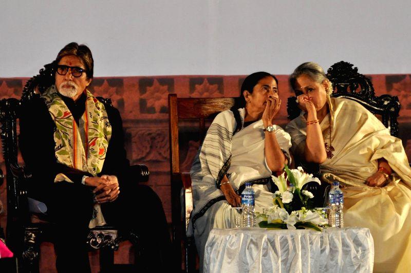 West Bengal Chief Minister Mamata Banerjee with actors Amitabh Bachchan and Jaya Bachchan during the inauguration of the 21st Kolkata International Film Festival in Kolkata on Nov 14, 2015. - Mamata Banerjee, Amitabh Bachchan and Jaya Bachchan