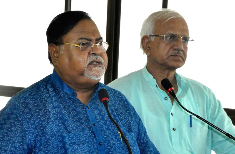 West Bengal Education Minister Partha Chatterjee addresses a press conference at Nobanno in Howrah on May 8, 2017. - Partha Chatterjee