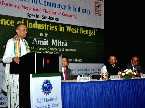 West Bengal Finance, Commerce and Industries Minister Amit Mitra addresses during `Resurgence Industries in West Bengal` a programme organised by MCC Chamber of Commerce in Kolkata on July 12, 2014. - Amit Mitra