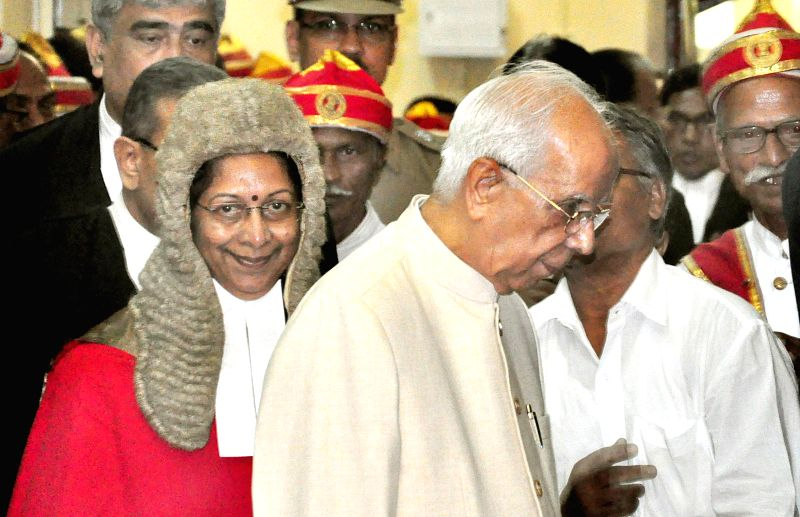 West Bengal Governor K N Tripathi and the first woman chief justice of Calcutta High Court Manjula Chellur during the later's swearing-in ceremony in Calcutta High Court on Aug 5, 2014. - K N Tripathi