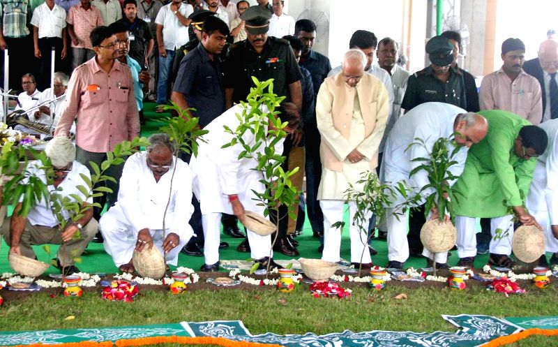 West Bengal Governor Keshari Nath Tripathi, Assembly Speaker Biman Banerjee and MLAs plant a sapling at West Bengal Assembly in Kolkata on July 22, 2016. - Biman Banerjee and Keshari Nath Tripathi