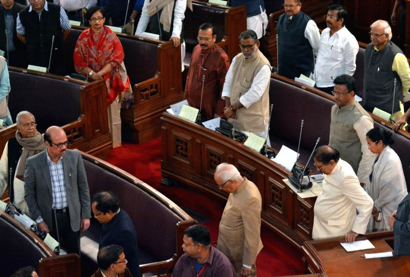 West Bengal Governor Keshari Nath Tripathi, Chief Minister Mamata Banerjee speaker Biman Banerjee during State Budget Session at State Assembly in Kolkata on Jan 30, 2018. - Mamata Banerjee, Keshari Nath Tripathi and Biman Banerjee