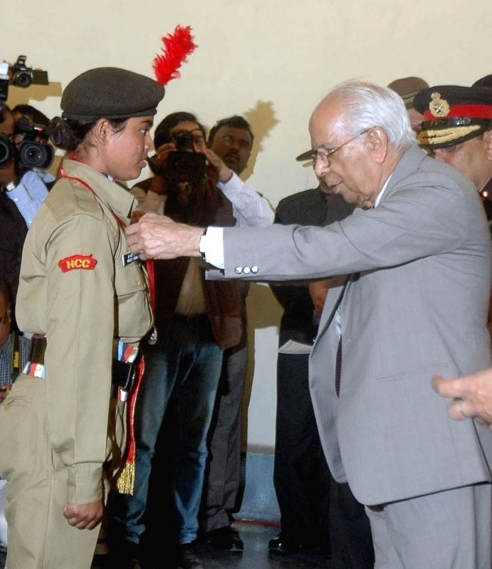 West Bengal Governor Keshari Nath Tripathi during NCC award ceremony at Raj Bhawan in Kolkata on Feb 6, 2015. - Keshari Nath Tripathi