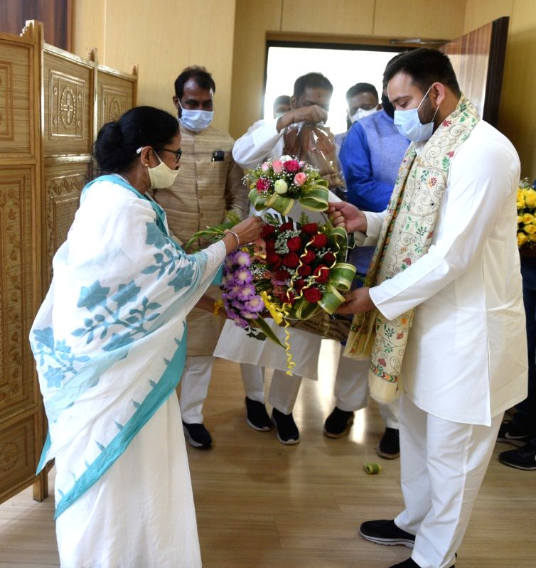 West Bengal: RJD leader Tejashwi Yadav meets West Bengal Chief Minister Mamata Banerjee at Nabanna in Howrah on Monday 01st March 2021. (Photo: Kuntal Chakrabarty/IANS)