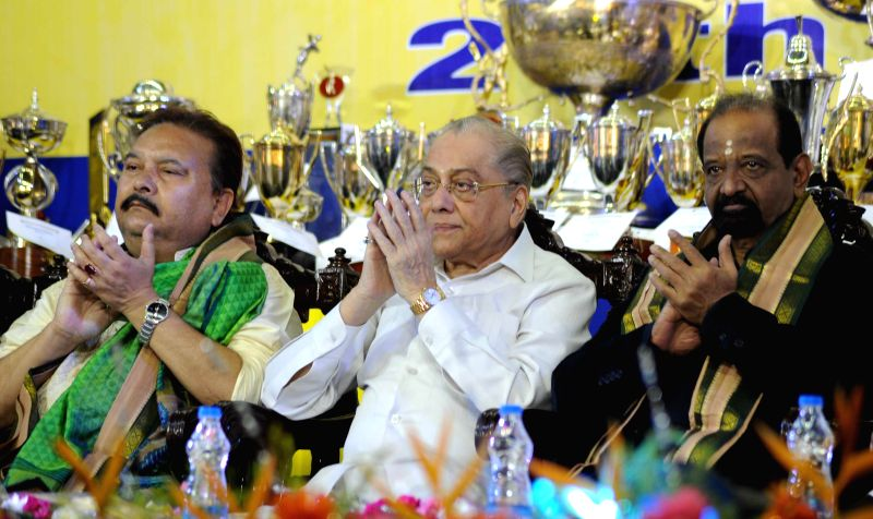West Bengal Sports Minister Madan Mitra, CAB president Jagmohon Dalmia and former cricketer Gundappa R. Viswanath (L to R) during CAB annual prize distribution ceremony in Kolkata on July 26, 2014. - Madan Mitra