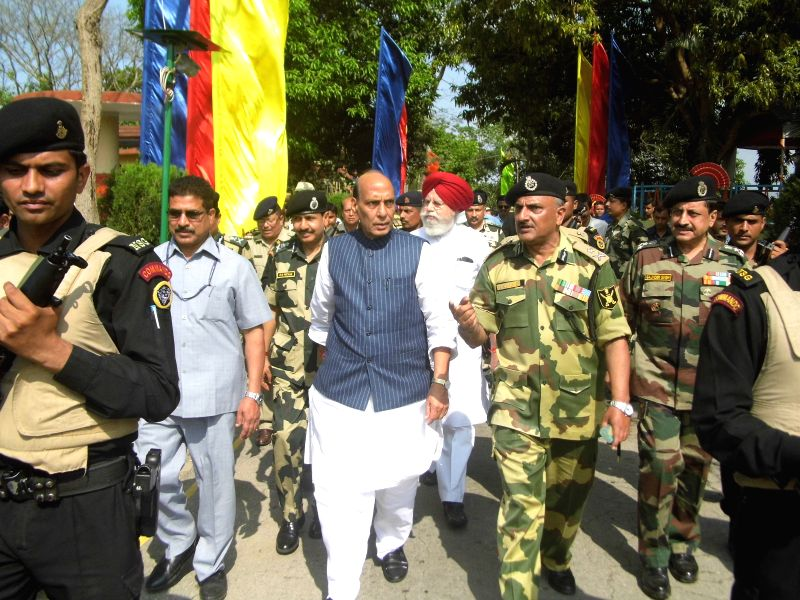 West Bengal: Union Home Minister Rajnath Singh visits a Bangladeshi enclave in West Bengal on March 31, 2015.