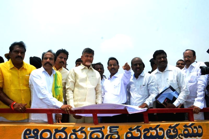 West Godavari: Andhra Pradesh Chief Minister N. Chandrababu Naidu inspects work in progress at Polavaram Project - a multi-purpose irrigation project in West Godavari district of the state on April ... - N. Chandrababu Naidu
