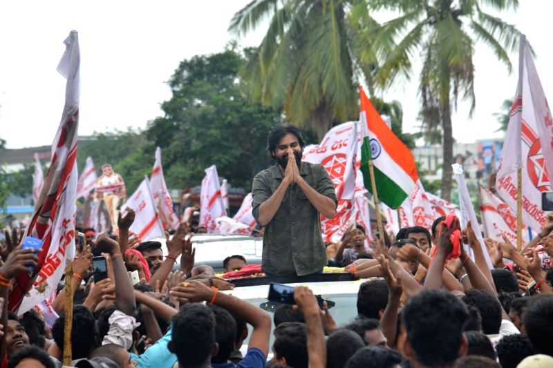West Godavari: Jana Sena chief Pavan Kalyan during a public meeting in Andhra Pradesh's West Godavari on Aug 12, 2018.
