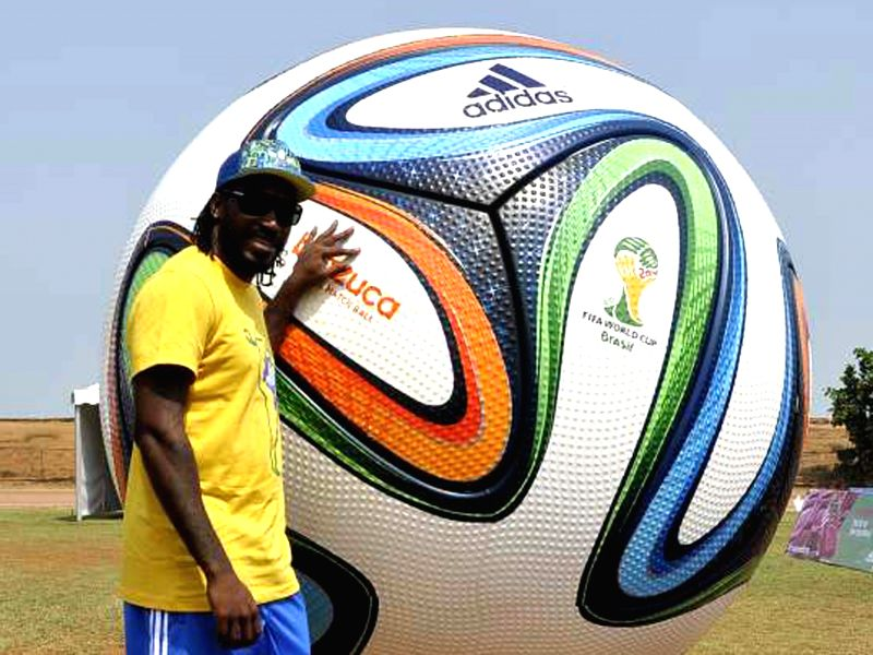 West Indian cricketer Chris Gayle during a 2014 FIFA World Cup  promotional​ programme in Mumbai on May 7, 2014.