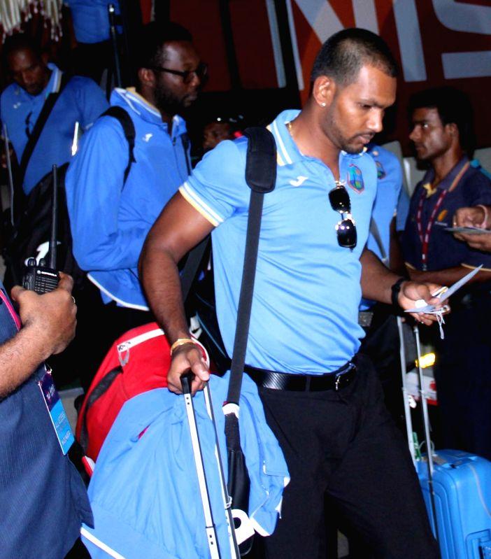 West Indies cricketer Denesh Ramdin on his way back home at Netaji Subhas Chandra Bose International Airport in Kolkata, on April 4, 2016.