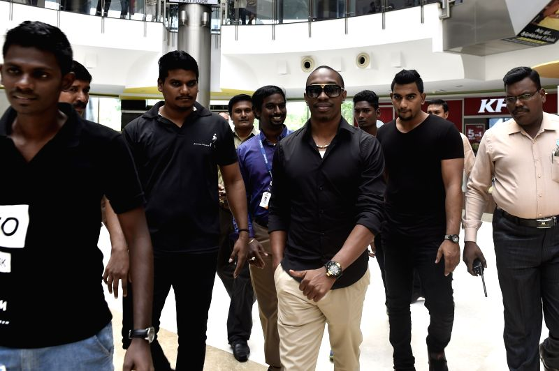 West Indies cricketer Dwayne Bravo during a programme in Chennai, on April 6, 2016.