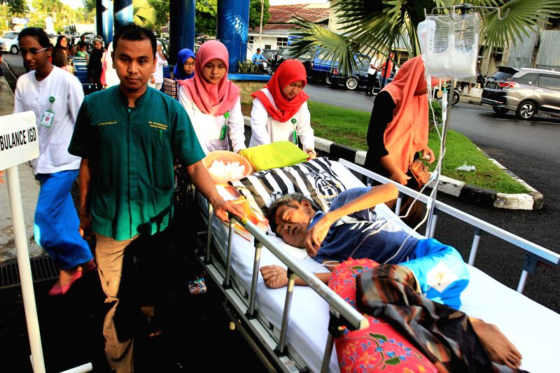 WEST SUMATRA, June 2, 2016 - A patient of the M. Djamil Padang hospital is transferred to a safe place after an earthquake hit Padang, West Sumatra in Indonesia, on June 2, 2016. An earthquake ...
