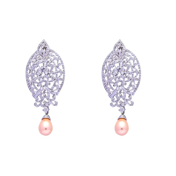 White Gold- Pearl Drop Earrings by Jewelsify.com_ INR 1,25,000