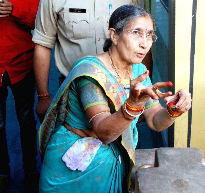 Wife of Prime Minister Narendra Modi, Jashodaben Modi during her visit to Mathura on April 19, 2017. - Narendra Modi and Jashodaben Modi