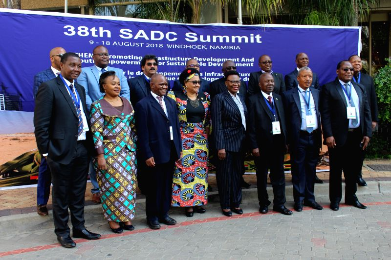 WINDHOEK, Aug. 9, 2018 - Members of the Southern African Development Community (SADC) Standing Committee of Senior Officials pose for a group photo at the 38th Ordinary SADC Summit in Windhoek, ...