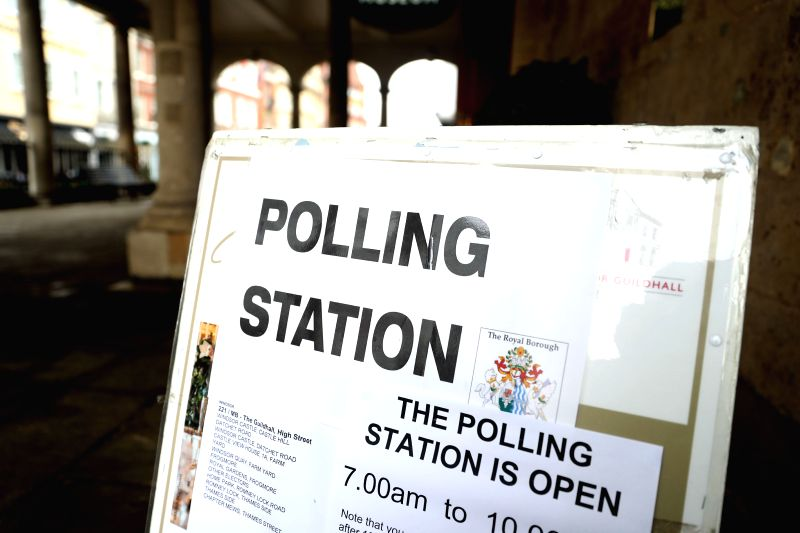 WINDSOR, June 8, 2017 - Photo taken on June 8, 2017 shows a sign for a polling station of the general election in Windsor, Britain.