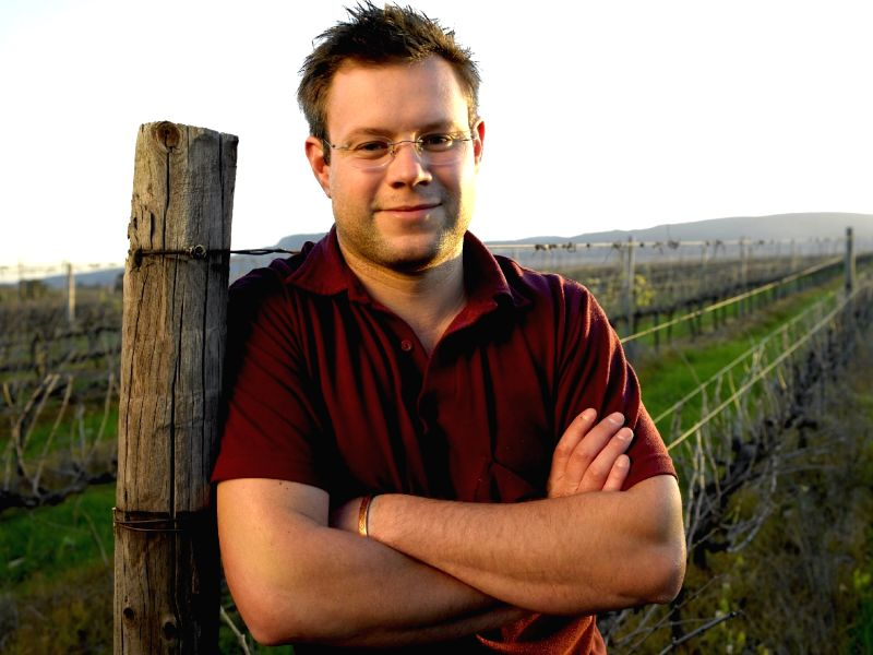 Wine maker Wim Truter at the Disteller's vineyards near Cape Town in South Africa
