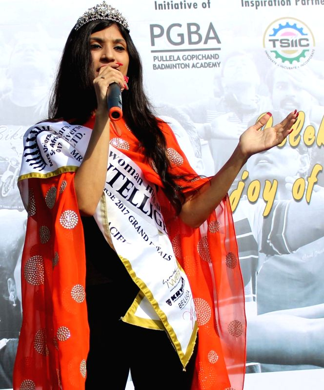 Winner of Mrs India and Mrs Asia Pacific Universe Abhimanika Yadav addresses during the Physical Literacy Day celebrations in Hyderabad on Sept 10, 2017.