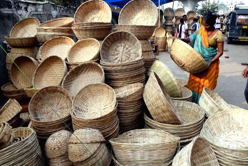 Winnowing baskets on sale ahead of Chhath Puja celebrations in Patna