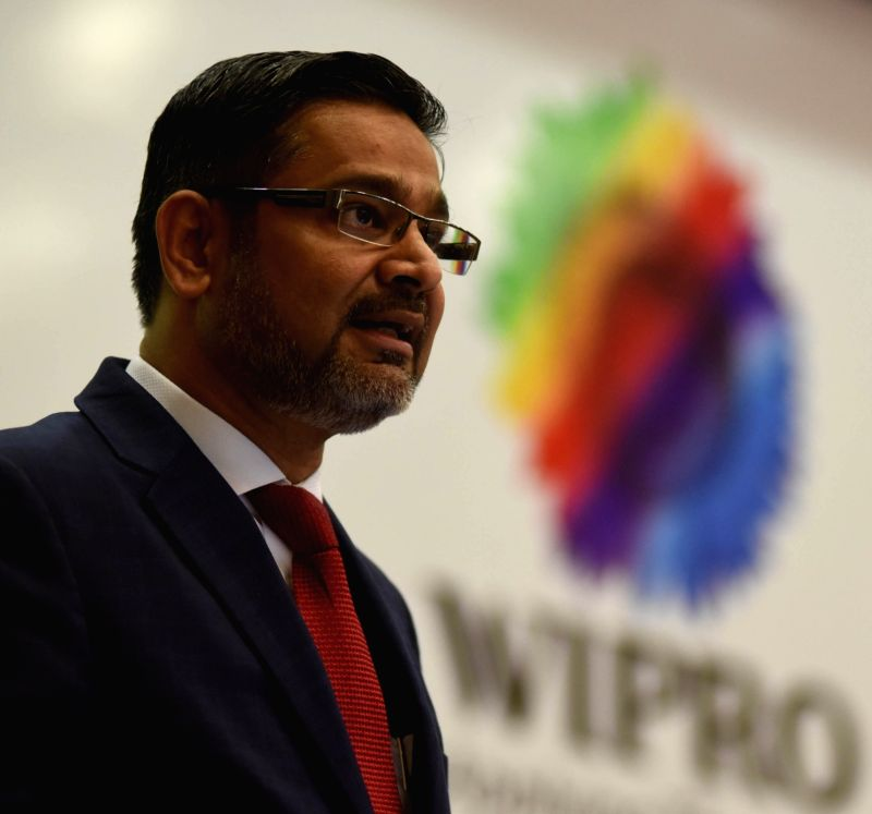 Wipro CEO Abidali Neemuchwala addresses a press conference to announce Q1 Financial Results at Wipro, in Bengaluru on July 19, 2016.