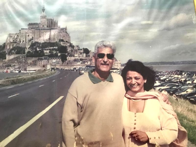 With wife Molina at Abbey of Mont St Michel in Normandy