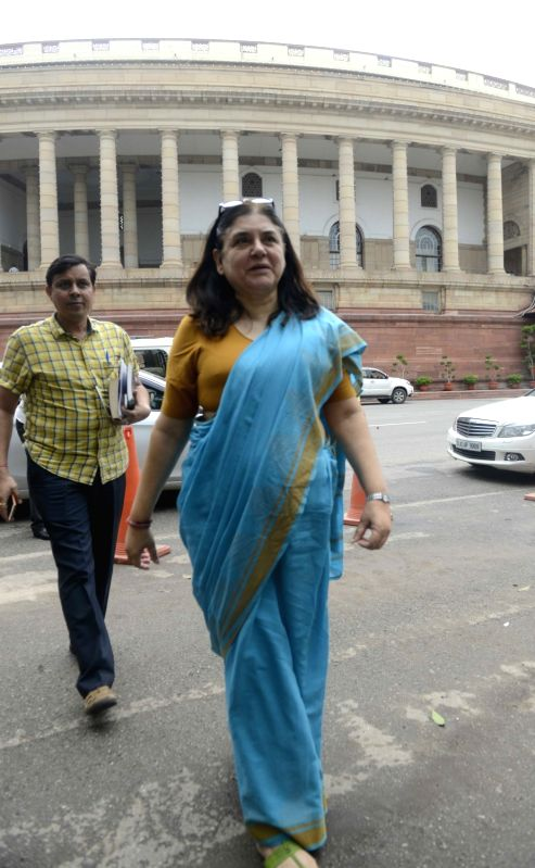 Women and Child Development Minister Maneka Gandhi at Parliament in New Delhi, on Aug 11, 2016. - Maneka Gandhi