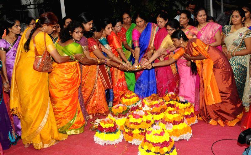 Women celebrate Bathukamma festival in Hyderabad