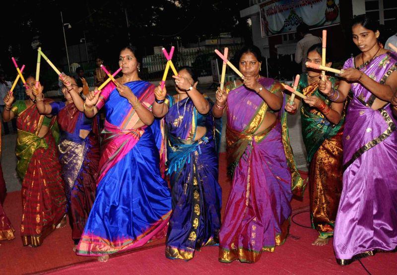 Women celebrate Bathukamma festival