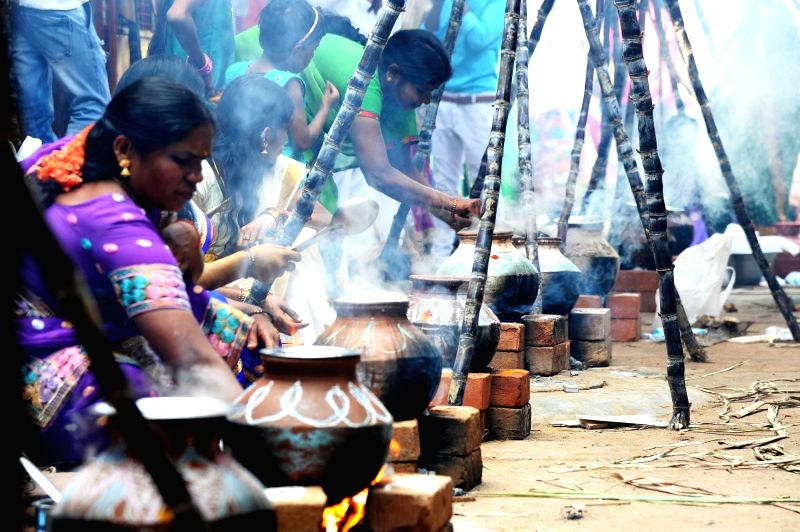 Women celebrate Pongal