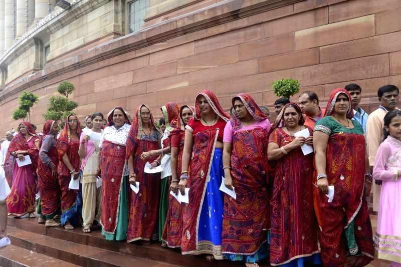 Women from Jhunjhunu of Rajasthan visit Parliament in New Delhi, on Aug 11, 2016.