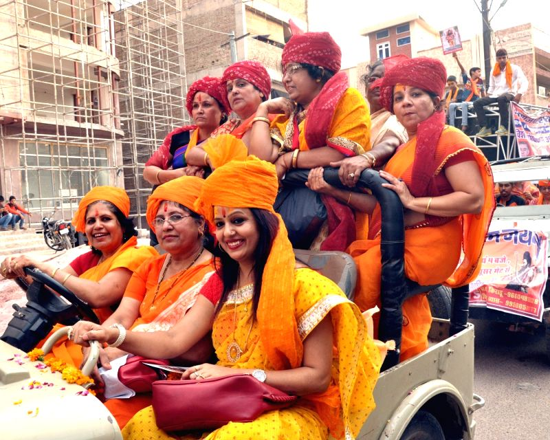 Women participate in a religious procession organised on Lord Parshuram Jayanti in Bikaner on May 6, 2016.