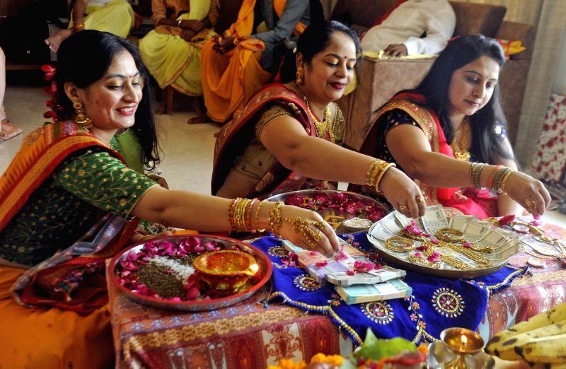 Women perform Dhanteras Puja in Ahmedabad