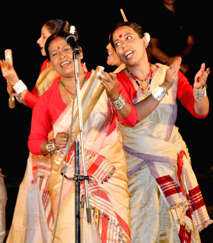 Women perform Jeng bihu dance during a programme in Guwahati on Aug 10, 2014.
