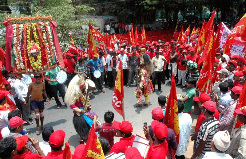 Workers affiliated to AICCTU participate in a rally organised on International Workers' Day in Bangalore on May 1, 2014.