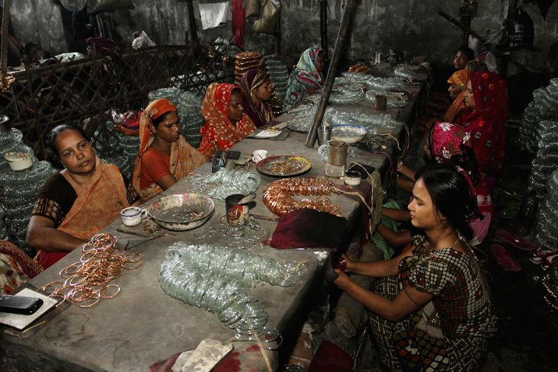 Workers at a bangle workshop in Bangladesh on July 15, 2014.