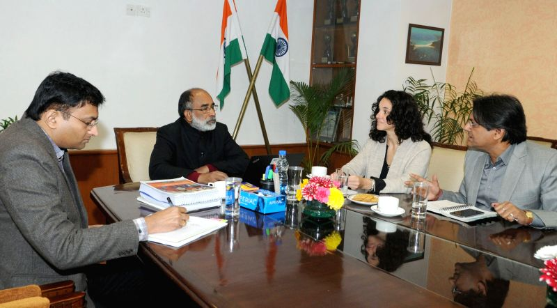 World Bank official Stefania Abakerli meets Union MoS for Tourism (I/C) and Electronics & Information Technology Alphons Kannanthanam in New Delhi on Jan 29, 2018.
