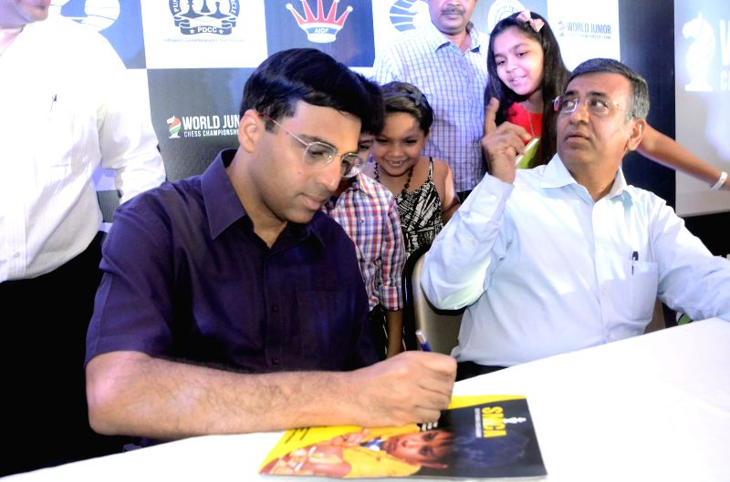 World Champion GM Vishwanathan Anand launches the World Junior Chess Championship in Mumbai on Aug. 9, 2014. The World Junior Chess Championship is scheduled from October 5-20 in Pune. A total of 250