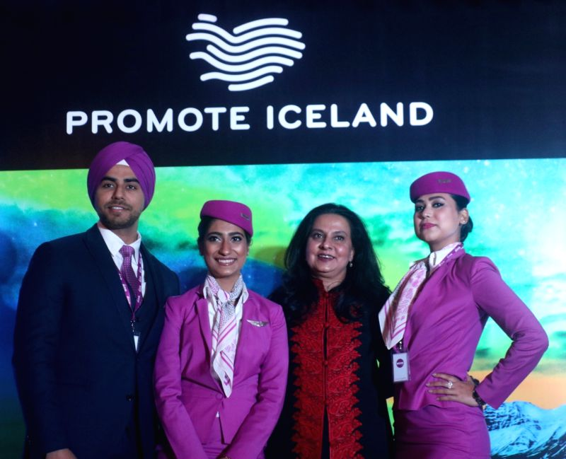 WOW air MD Kiran Jain with the the airline's crew at a press conference during the launch of flights from Delhi to Reykjavik, Iceland; in New Delhi on Dec 7, 2018. - Kiran Jain