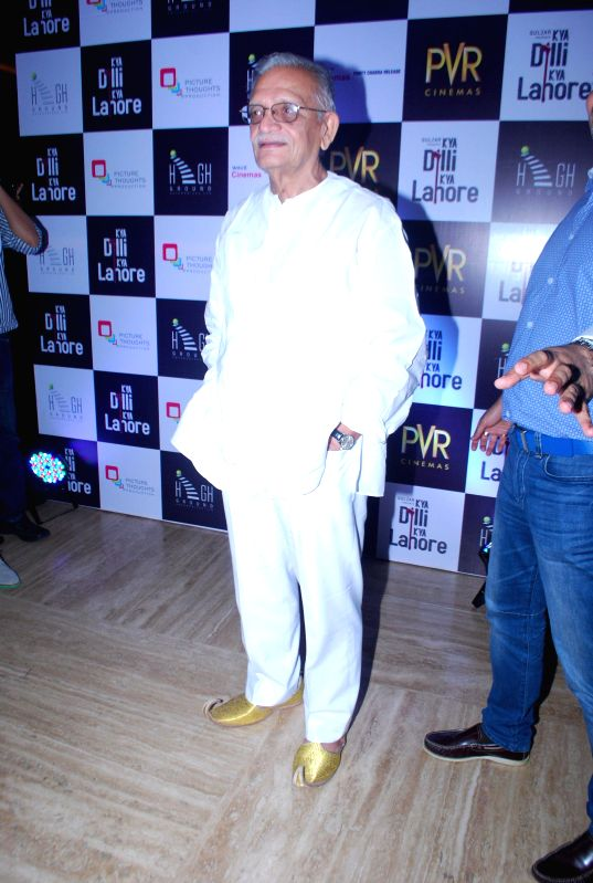 Writer and lyricist Gulzar during the premiere of film Kya Dilli Kya Lahore in Mumbai on April 30, 2014.
