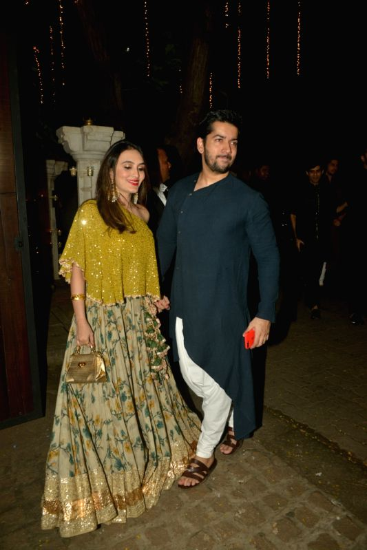 Writer Rohit Dhawan And His Wife Jaanvi Desai During A Diwali Party Hosted By Actor
