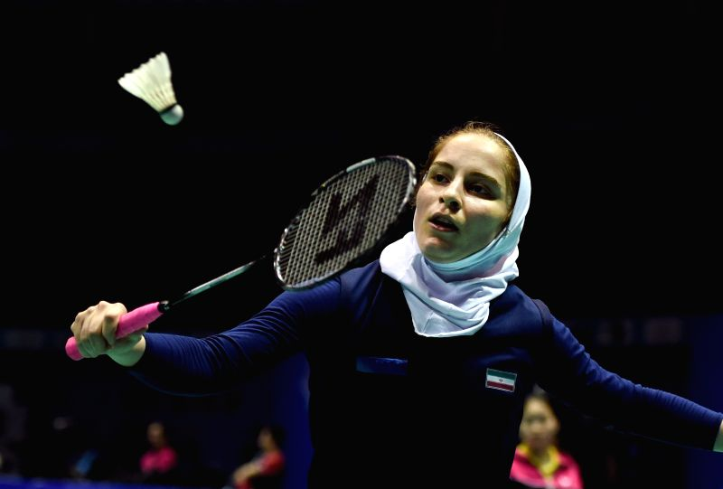 Iran's Hajiagha Soraya Aghaei returns a shot during the women's singles match against Tai Tzu Ying of Chinese Taipei at the Asian Badminton Championships 2015 in ...