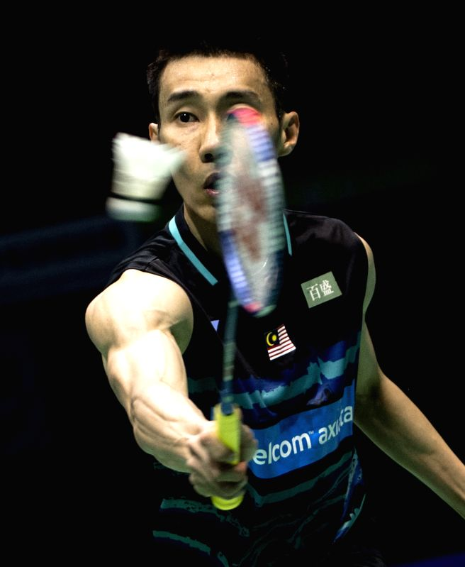 WUHAN, April 26, 2017 - Lee Chong Wei of Malaysia returns the shuttlecock during the men's singles first round match against Japan's Kazumasa Sakai at the Badminton Asia Championships 2017 in Wuhan, ...